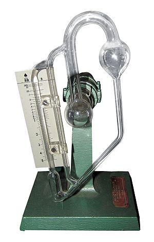 Vacuum - A glass McLeod gauge, drained of mercury