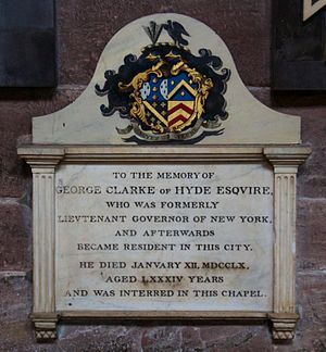 George Clarke (governor) - Memorial in Chester Cathedral