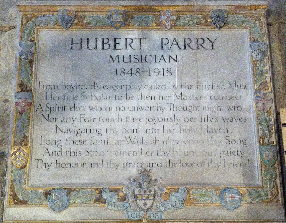 Memorial to Hubert Parry in Gloucester Cathedral