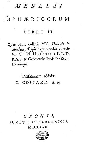 Menelaus of Alexandria - Sphaericorum libri tres