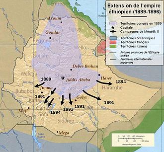 Menelik II - Menelik's campaigns 1889–96