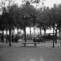 Mensen op bankjes met langs de kant geparkeerde auto's in het park op de Pincio, Bestanddeelnr 191-1275.jpg