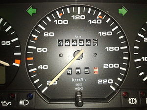 Kilometres per hour - A car speedometer that indicates measured speed in kilometres per hour.
