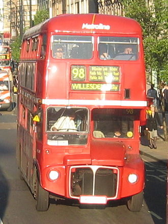 Metroline - AEC Routemaster on route 98 on Oxford Street in April 2003