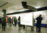 Platform information sign at Moorgate station advising passengers that some Metropolitan Line trains do not call at all stations. Over the years the list of stations 'non-stopped' has varied, with (for instance) at one time Harrow-On-The-Hill and West Harrow being included in the list. The list shown here is correct for 2007, although so few trains now non-stop Wembley Park that it may also soon need removing from the list.