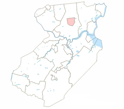 Metuchen borough highlighted in Middlesex County