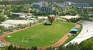 Middle East Technical University - Part of METU campus. METU Stadium, a portion of dormitories in the background.