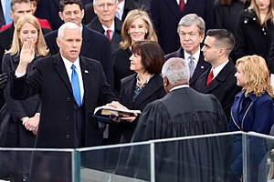 Oath of office of the Vice President of the United States - Vice President Mike Pence being administered the oath of office by Clarence Thomas on January 20, 2017.