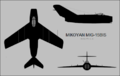 Mikoyan-Gurevich MiG-15bis three-view silhouette.png