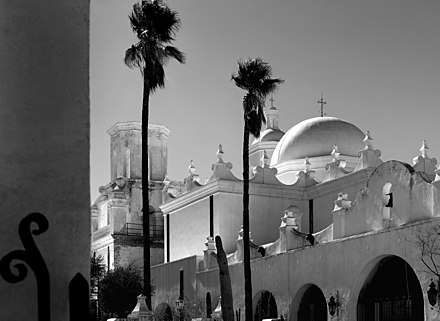 The North Court at Mission San Xavier del Bac, Tucson AZ Mission San Xavier Del Bac by Philip G Coman, 2018.jpg