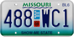 Missouri sub-6,000 lb truck license plate, July 2008.png