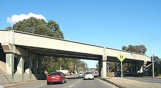 Mitchell Park, South Australia - Seaford railway line overpass, looking south from Marion Road