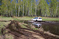 Mitsubishi Pajero Sport runs through spring puddle 12.JPG