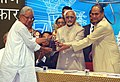 Mohd. Hamid Ansari presents the Jamnalal Bajaj Award 2008 to Shri Tushar Kanjilal for work of over three decades in the Sunderbans region focusing on integrated rural development and ecological conservation, at a function.jpg