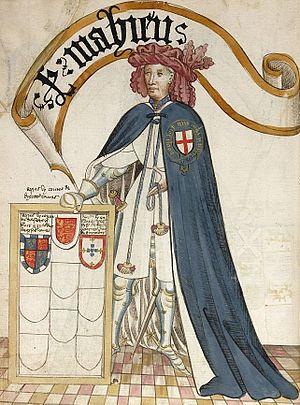 Feudal barony of Dunster - Sir John de Mohun, KG, (c. 1320 – 1375), from the Bruges Garter Book, 1430/1440