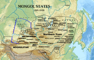 Moghulistan - Location of Moghulistan (Eastern Chagatai Khanate)