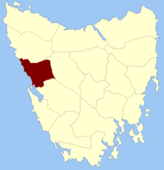 Montagu Land District - Location in Tasmania
