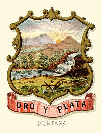 Seal of Montana - Image: Montana territory coat of arms (illustrated, 1876)