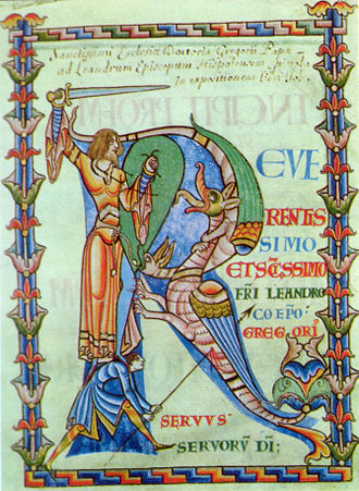Pope Gregory I - Illumination in a 12th-century manuscript of a letter of Gregory's to Saint Leander, bishop of Seville (Bibl. Municipale, MS 2, Dijon).