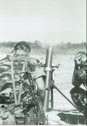 Battle of Kolwezi - Mortar in action