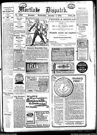 Mortlake Dispatch - Front page of Mortlake Dispatch, 7 January 1914
