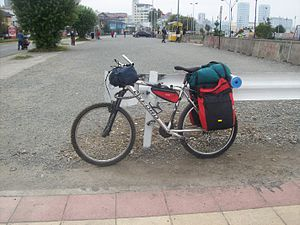 Mountain Bike equipped for bicycle touring