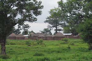 Earth structure - Traditional round mud and thatch houses forming a family compound near Tamale, Ghana