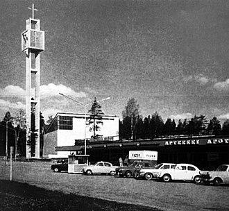 Munkkivuori - Munkkivuori shopping centre, church and bell tower in the early 1960s