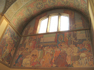 Los Angeles Public Library - A portion of the four-part mural by illustrator Dean Cornwell depicted the stages of the history of California at the Los Angeles Central Library.