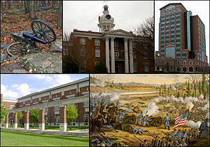 From top left, cannon at Stones River National Battlefield, Rutherford County Courthouse, City Center, MTSU 's Paul W. Martin Sr. Honors Building, Battle of Stones River.