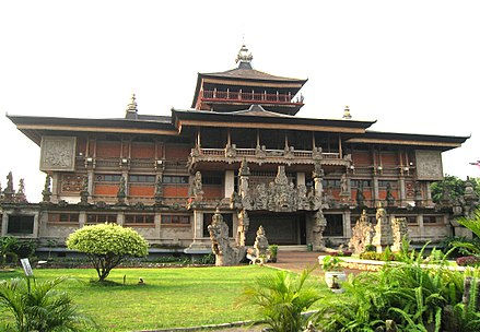 Indonesia Museum in TMII built in Balinese architecture, is an ethnology museum displaying various artifacts and ways of life of ethnic groups in Indonesia. Museum Indonesia Main Building.jpg