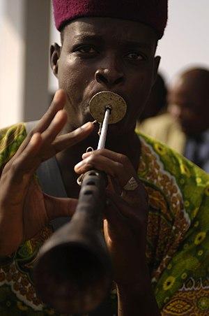 Culture of Cameroon - A musician plays traditional African music during the closing ceremony of French RECAMP-concept (reinforcement of African peacekeeping capacities) in Douala, November 23, 2006