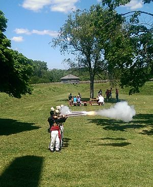 Fort Meigs - Historic reenactors firing flintlock muskets during Independence Day 2014.