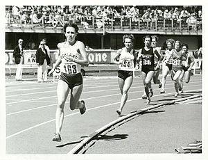 Anne Audain - Audain leading the 800 m at the NZAAA championships at Queen Elizabeth II Park, Christchurch, 1979