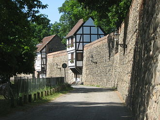 Neubrandenburg - Two of the 25 (formerly 56) typical timbered Wiek houses along the Neubrandenburg city wall