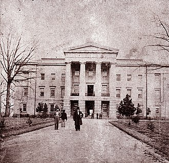 Raleigh, North Carolina - North Carolina State Capitol, c.1861; Governor David S. Reid is in the foreground