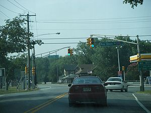 New Jersey Route 47 - Route 47 southbound at the intersection with Cape May County Route 603 (Bay Shore Road) in Middle Township.