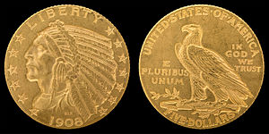 Half eagle - 1908 Indian Head half eagle