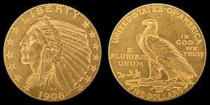 Half eagle - 1908 Indian Head half eagle