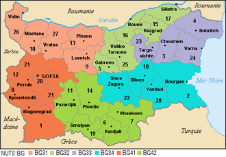Provinces of Bulgaria - Distribution of provinces by NUTS: Level 1 (regions): Northern and Eastern, South-Western and South-Central; Level 2 (planning regions)