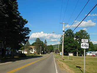 New York State Route 446 - NY 446 heading east from NY 16 in Maplehurst