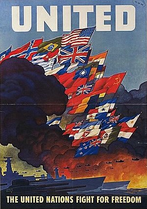 Declaration by United Nations - Wartime poster for the Allies of World War II, created in 1943 by the US Office of War Information.