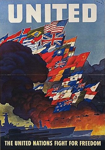 Wartime poster for the United Nations, created in 1943 by the US Office of War Information Naciones Unidas 3.jpg
