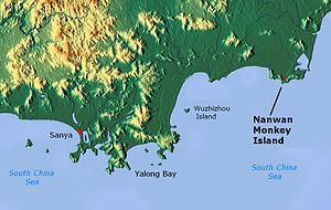 Nanwan Monkey Island - Nanwan Monkey Island shown east of Wuzhizhou Island, Yalong Bay, and Sanya