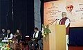 Narendra Modi addressing at BHU during the launch of the Madan Mohan Malviya National Mission on Teachers and Teaching, in Varanasi, Uttar Pradesh. The Union Minister for Human Resource Development.jpg