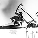 Neil Armstrong climbing out of the cockpit of a T-38.jpg
