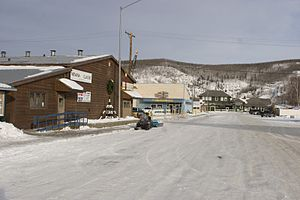 Nenana, Alaska - A Street is the main street of the Nenana townsite. The larger buildings seen in this view, from left to right: the Nenana Civic Center (which doubles as headquarters for the Nenana Ice Classic), Coghill's Store and the Nenana Depot of the Alaska Railroad.