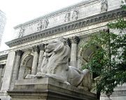 At the entrance to the New York Public Library.