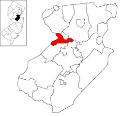 Location of New Brunswick in Middlesex County