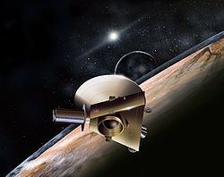 Artist's rendition of New Horizons encountering Pluto.
